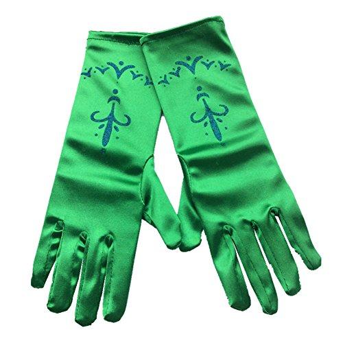 guanti verdi L-Peach Principessa Guanti per Ragazze per Festa Party Compleanno Halloween Carnevale 3-10 anni
