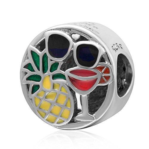 Piña Gafas de sol Copa de vino encanto encanto 925 plata esterlina encanto encanto encanto aniversario encanto para Pandora encantos pulsera