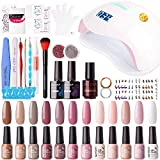Gellen 12 Colors Gel Nail Polish Starter Kit - with 72W UV/LED Nail...