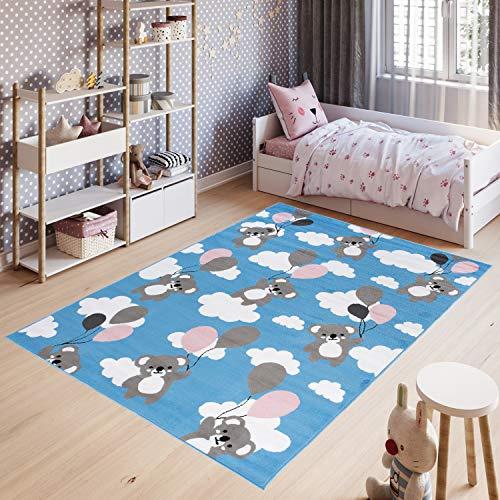Tapiso Pinky Alfombra Cuarto de Niños Juvenil Diseño Moderno Azul Gris Blanco Ositos Globos Suave Delgada 140 x 200 cm