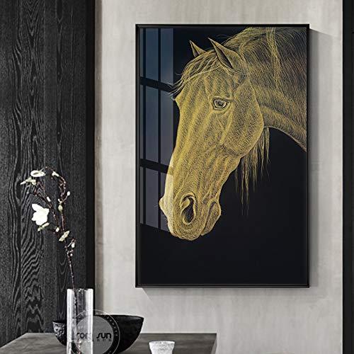 N / A Rahmenlose Malerei Goldenes Plakat Kriegspferd Tier Leinwand Malerei Wandkunst Bild Wohnzimmer Korridor WohnkulturZGQ7791 50X75cm