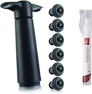 The Original Vacu Vin Wine Saver with 6 Vacuum Stoppers - Black| 1 Vacu Vin Stain Remover Pen | A Natural Portable Stain Treater To Go on Clothes | Easy to use on Wine Spills, Coffee | 56200541-TBL