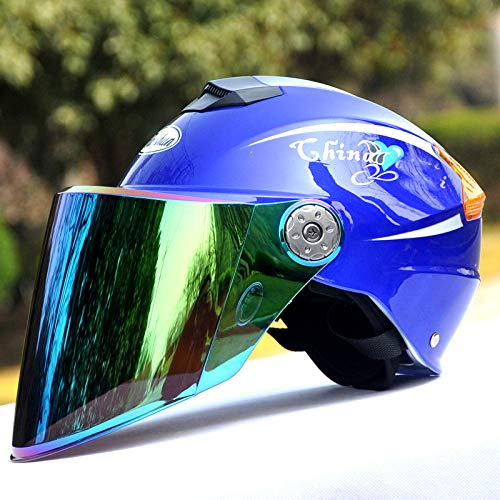 YSYW Motorradhelm Unisex-Elektroauto-Halbhelme Sommer Anti-Ultraviolett-Helme,Blue