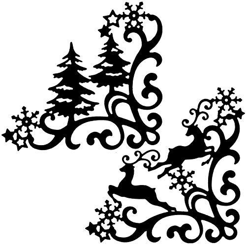 2 Stanzschablonen aus Stahl | Winterecken | Zierecken | Einsteck-Ecken | Passend für gängige Stanzmaschinen