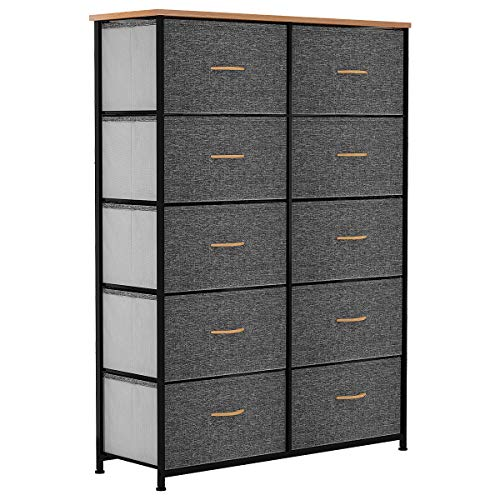 YITAHOME 10 Drawer Dresser - Fabric Storage Tower, Organizer Unit for Bedroom, Living Room, Hallway, Closets & Nursery - Sturdy Steel Frame, Wooden Top & Easy Pull Fabric Bins (Dark Gray)