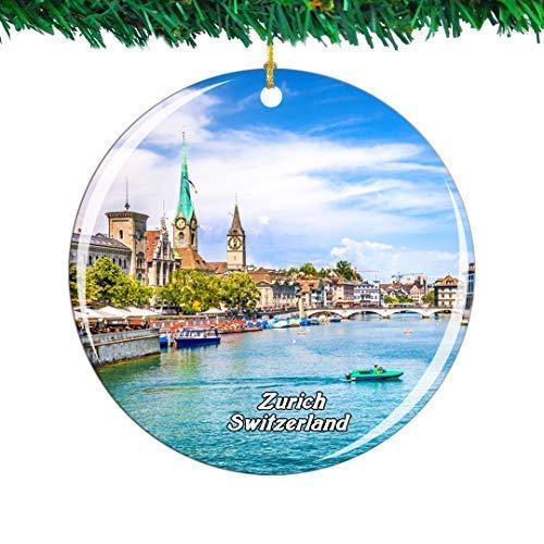 Kysd43Mill Swiss Lake Zurich Limmat - Adornos de cerámica para árbol de Navidad