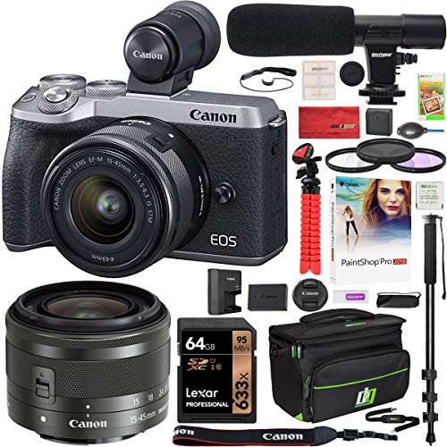 Canon EOS M6 Mark II 2 Mirrorless Digital Camera with 15-45mm f/3.5-6.3 is STM Lens and EVF Kit Silver 3612C011 Bundle with Deco Gear Case + Microphone + Monopod + Filter Set + 64GB Memory Card