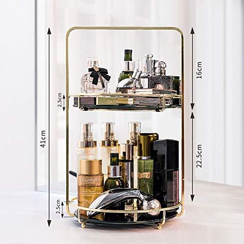 Cosmetische opbergdoos dubbele laag rotatie make-up organisator voor dressoir slaapkamer of badkamer make-up houder Portable