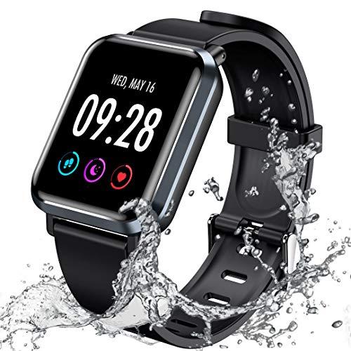 【令和最新版】スマートウォッチ IPx68防水 活動量計 腕時計 歩数計 着信 line通知 長座注意 カロリー 日本語対応 iPhone/Android対応 ブラック