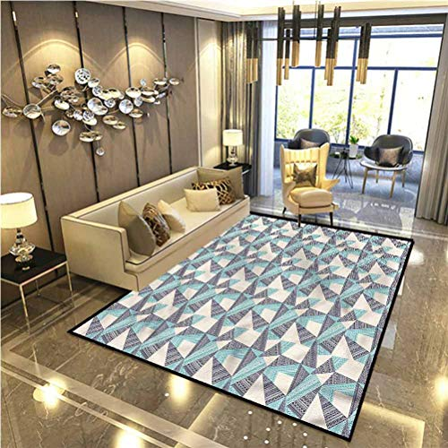 Abstract Soft Fluffy Bedroom Rugs Tribal Art Influence Soft Living Room Carpets 6 x 7 Ft