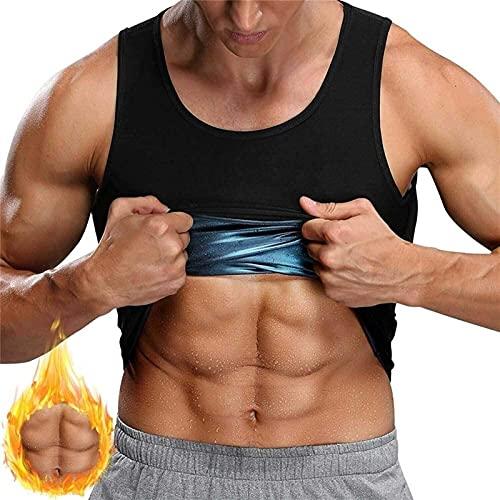 Sauna Chaleco Hombres Adelgazante Sudor Camisa Trajes con Recubrimiento de polímero 3X Sudor Sauna Traje Camisa Entrenador pérdida de Peso Brazos Calientes (Color : Men, Size : S)