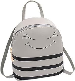 Kwok Girl Smiley Headphone Hole Backpack Slung Shoulder Bags Mobile Phone Purse Crossbody Bag Messenger Bag Leisure Bag Earphone Bag