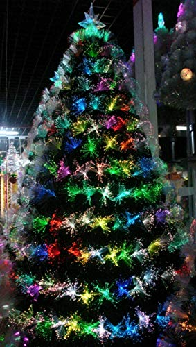 Global Group Fibre Optic Christmas Tree with LED Lights and Star Topper 4ft, 5ft, 6ft (6FT/1.8M)