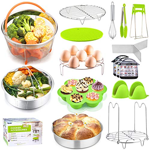 P&P CHEF 18 Pieces Pressure Cooker Accessories Set for Cooking and Serving, Fit 6/8 QT Pressure Cooker, 2 Steamer Baskets, Cake Pan, Egg Rack, Egg Bites Mold and more kitchen tools (Green)