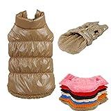 Kismaple manteau imperméable pour chien Veste d'hiver rembourré matelassé Doudoune pour chien Pet chiot vêtements assortis Marron XS Poitrine: 26-28CM