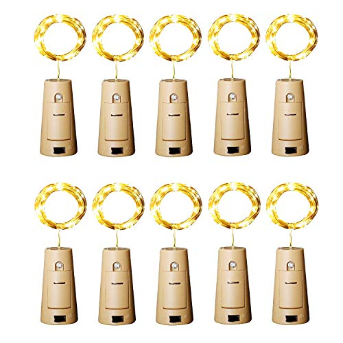 Aluan Wine Bottle Lights with Cork Christmas Lights 12 LED 10 Pack Fairy Lights Waterproof Battery Operated Cork String Lights for Jar Party Wedding Christmas Festival Bar Decoration, Warm White