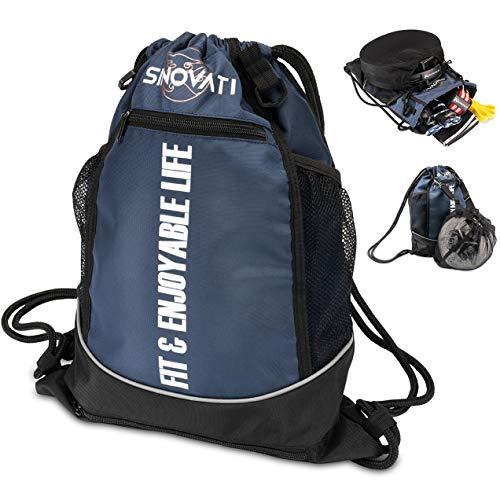 SINOVATI Turnbeutel wasserdichte Gym Bag mit Tunnelzug | Sporttasche mit Netzfächern | Fitnesstasche | Multifunktionaler Rucksack | Sportbeutel Herren und Damen