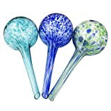 Lexi Home Indoor/Outdoor Water Globes for Plants - Decorative Aqua Globes - Self Watering Globes - Glass Watering Bulbs (3 Pack - Blue)