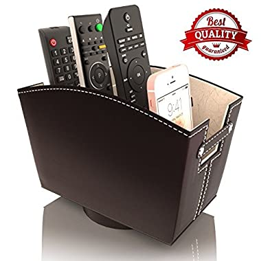 Remote Control Holder Caddy Bedside Organizer | Nightstand Storage Desk Accessories | Rotating Base Faux Leather Multiple Compartments by Kyle Matthews Designs