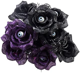 6 Stem Black and Purple Rose Bushes with Spiders and Eyeballs 14in (2) (Purple & Black)
