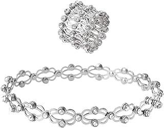 WANMEI 2 in 1 magico anello retrattile braccialetto creativo estensibile Twist pieghevole anello di cristallo anelli teles...