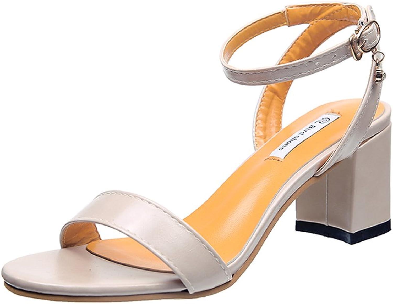Rainbow high heels High-Heeled shoes - Rainbow 2018 New, 6.5cm Thick Heel Sandals Women Word shoes