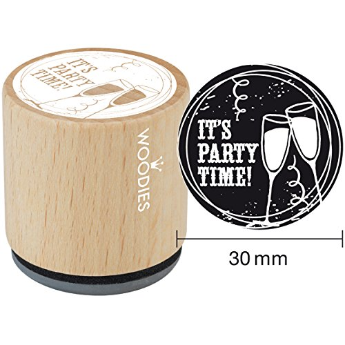 Woodies montiert Gummi Stempel 1.35-inch IT 'S Party TIME, Acryl, Mehrfarbig, 3-teilig