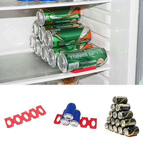 Anasu 2 Pack Bottle Can Storage Organizer Holder Silicone Stacker Cans Fridge Mats Beverages Can Rack Organizer (Red)
