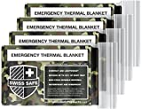 Swiss Safe Emergency Mylar Thermal Blankets (4-Pack) + Bonus Signature Gold Foil Space Blanket: Designed for...