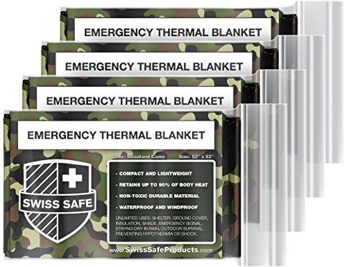 Swiss Safe Notfall Mylar Thermodecken (4-Pack) + Bonus Signature Goldfolie Raumdecke: Entwickelt für Nasa, Im Freien, Wandern, Überleben, Marathons oder Erste Hilfe (Waldtarnungs)