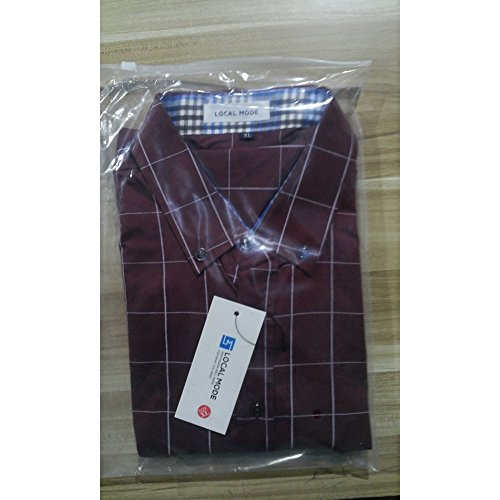 LOCALMODE Men's 100% Cotton Long Sleeve Plaid Slim Fit Button Down Dress Shirt,Wine Red,X-Large