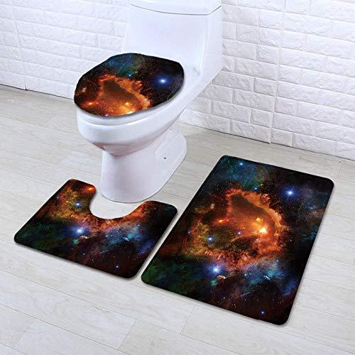 DLSM oria baño de Secado rápido Estrellas de Colores deslumbrantes Espacio Misterioso impresión en HD Absorbente de Agua Antideslizante Almohadilla Sanitaria para el hogar Juego de Tres Piezas-C2