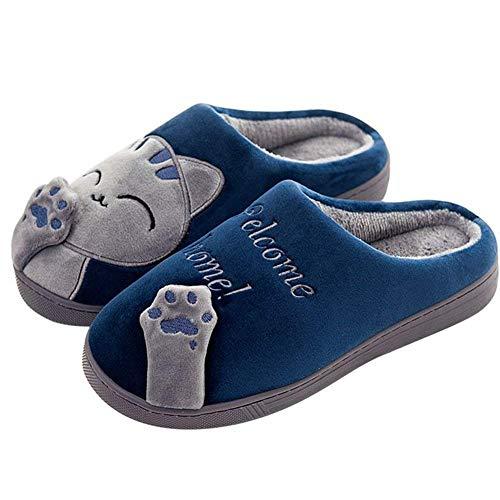 Invierno Cálido Zapatillas de Estar por Casa Interior para Niño Niñas patrón Gatos 26/27 EU (Tamaño de Etiqueta 20) Gato-Azul