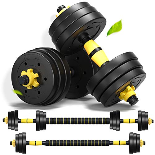 Weights Dumbbells Set for Men Adjustable Dumbbell Barbell Weights 2 in 1 with Connected Rod, 10lb, 15lb, 20lb Dumbells Set of 2, Hand Weights Free Weights for Exercises Dumb Bells (44lb (22lb x 2))