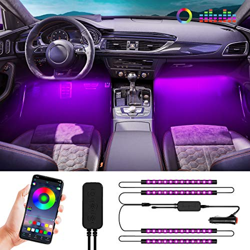 Interior Car Lights, Car LED Strip Light Upgraded Waterproof 4PCS 48 LEDs APP Controller Lighting Kits, DIY Color LED Lighting Kits Sync to Music - Super Length Wires for Various Car