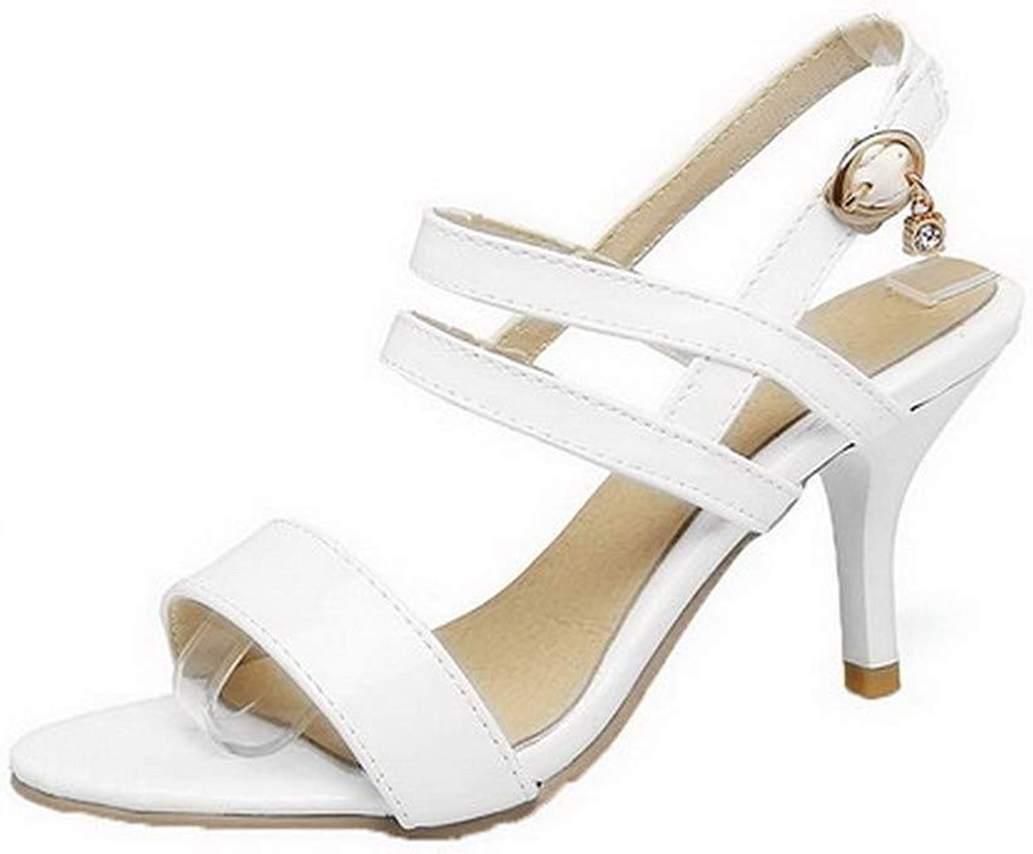 AmoonyFashion Women's Solid Patent Leather High-Heels Buckle Open-Toe Sandals, BUTLT008030