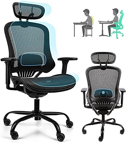 Ergousit Ergonomic Mesh Office Chair, High Back Desk Chair with Adjustable Height, Backrest and Lumbar Support, 3D Armrests,Swivel Executive Drafting Chair (Black)