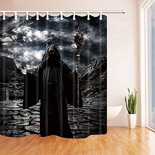 SHUHUI Cortina baño Halloween Muerte bajo tormenta con Sangre en el Suelo Tejido Cortina Ducha para baño 180X180CM Ganchos