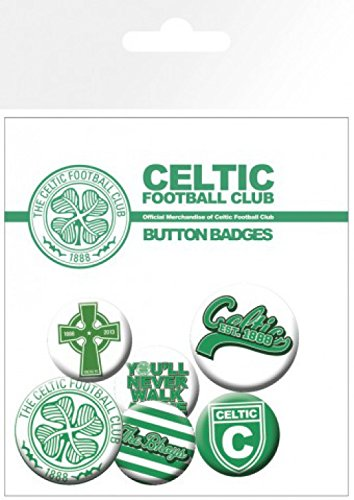 1art1 Football, The Celtic Football Club, 4 X 25mm & 2 X 32mm Badges Badge Pack (6x4 inches) and 1x Surprise Sticker