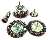 Kibros 5LOT1 | Lot de 5 brosses circulaires | Tige acier dur | Adaptables sur perceuses ou visseuses