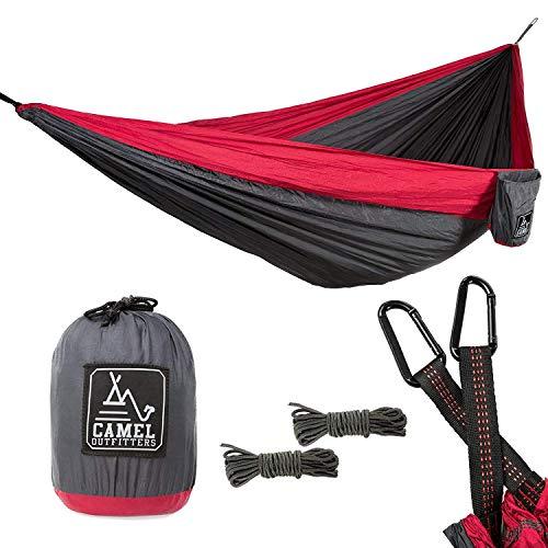 ZJXHAO Double hamac-léger Parachute Portable hamacs pour la randonnée, Voyage, Backpacking, Plage, Yard Gear Comprend Sangles en Nylon et mousquet en Acier,Red