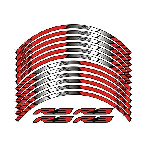 wjyfexble Calcomanías de la Rueda de la Motocicleta Pegatinas Reflectantes Rim Stripes compatibles con Yamaha YZF R3 WYJHN (Color : Reflective Red)