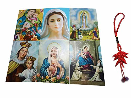 Artesanal ricevi 6imanes pintados Santini 5x 7cm imán: Virgen Maria Fátima Medjugorje Lágrimas y otros de fotos y un llavero incluye amuleto Corni