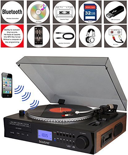 Boytone BT-11B Fully Automatic Large Size Turntable, Bluetooth Wireless, 2 Built in Stereo Speaker, S-Shaped Tone Arm with Adjustable Counterweight & Pitch Control, AM/FM, CD, (Renewed)