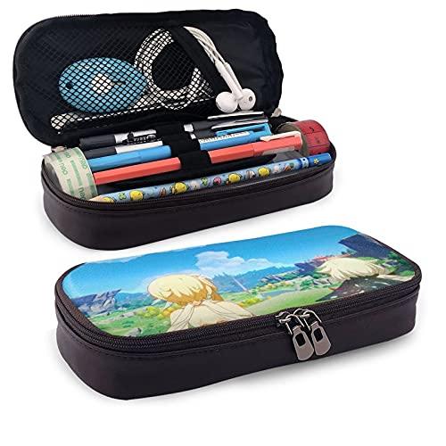 Gen-shin Im-Pact - Estuche para lápices de gran capacidad, bolsa de maquillaje para bolígrafos de maquillaje con doble cremallera para estudiantes