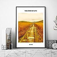 ゴールデンファーム引用符壁アートパネル写真田園地帯風景ポスター自然風景版画スカンジナビアキャンバス絵画インテリアリビングルームモダン家装飾の画D2 /30x40cmフレームなし