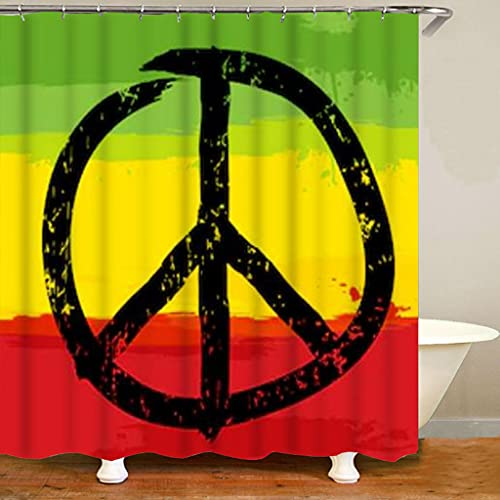 MIKUAM DuschvorhangHippie Rasta Colors Make Love No War Rasta Duschvorhang Reggae Peace Logo Badezimmer Vorhangmatten Set für Toilette Jamaika Flagge