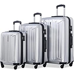Flieks Luggage 3 Piece Sets Spinner Suitcase with TSA Lock, Lightweight 20 24 28 in (silver) by Merax