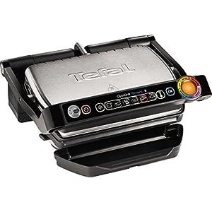 Tefal GC702D Optigrill–Plancha (indicador automático del estado, 6 programas preestablecidos, acero inoxidable), color negro y plateado plateado/negro