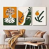 SHKJ Arreglo de jarrón de Punto de Onda Abstracto Retro Impresiones de Color Principal Amarillo y Verde Pintura Decoración del hogar Póster de Arte 40x60cm / 15.7'x23.6 X3 Sin Marco